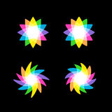 Abstract colorful rainbow vector element on black background Stock Images