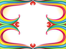Abstract colorful rainbow wave border with heart. Vector illustration Stock Photo