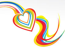 Abstract colorful rainbow wave with heart Royalty Free Stock Image