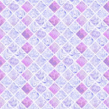 Abstract colorful seamless pattern on white background. Mosaic ornament in light pink and purple colors. Fantasy fractal design for wallpapers or fabric Royalty Free Stock Images