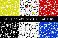 Abstract colorful seamless vector pebble pattern set. Set of 6 abstract geometric colorful seamless vector pebble patterns vector illustration