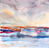 Abstract colorful seascape watercolor painted Stock Images