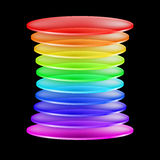 Abstract colorful shape. Abstract shape made of multi-colored transparent layers. Illustration on black background Stock Photo