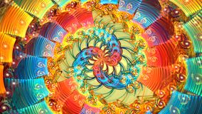 Abstract colorful shapes spinning like a carousel or in a kaleidoscope. High detailed. Several beautiful fractals smoothly transform one into another stock footage