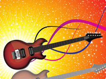 Abstract colorful shiny red guitar. With sparkles background vector illustration Royalty Free Stock Image