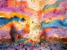 Abstract colorful sky splash watercolor painting landscape. Hand drawn design illustration Royalty Free Illustration