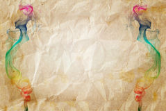 Abstract colorful smoke on old paper for text and Stock Photos