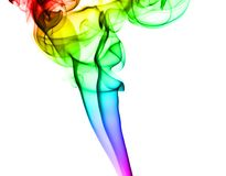 Abstract colorful smoke pattern on white Stock Photos