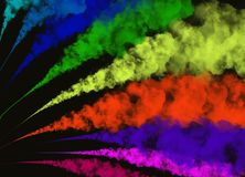 Abstract Colorful Smoke or Powder on Black Background Stock Photography
