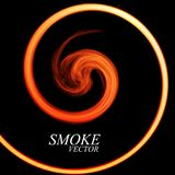 Abstract colorful smoke by spiral isolated. On black background. Vector Royalty Free Stock Photo