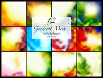 12 abstract colorful smooth blurred gradient mesh vector backgrounds for design. Vector illustration Royalty Free Illustration