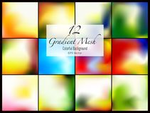 12 abstract colorful smooth blurred gradient mesh vector backgrounds for design. Vector illustration Stock Photo