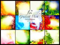 12 abstract colorful smooth blurred gradient mesh vector backgrounds for design. Vector illustration Royalty Free Stock Photography