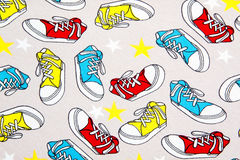 Abstract colorful sneakers pattern Royalty Free Stock Photos