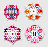 Abstract colorful snowflakes with 3D effect, logo Stock Image