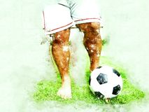 Abstract colorful soccer ball or football ball watercolor paint background. stock photos