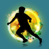 Abstract colorful soccer player. Abstract silhouette soccer player with colorful background Royalty Free Stock Image