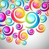 Abstract colorful spiral arc-drop pattern on a light background. Transparent colorful elements and circles design card.  Vector illustration Royalty Free Stock Photography