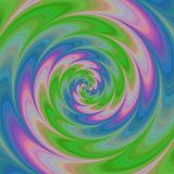 Abstract colorful spiral background in green, blue and pink. Spectrum stock illustration