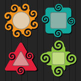 Abstract colorful spiral shapes frame icons set Stock Photo