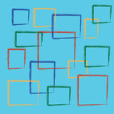 Abstract colorful square on blue background Stock Photos