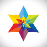 Abstract colorful star shape with six sides- vecto. R graphic. This illustration consists of many stars united as one & made of paper(origami) in colors like red Stock Photos