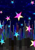Abstract Colorful Stars Cheerful_eps. Illustration of abstract colorful stars in night city with colorful equalizer frequency and cheerful hand on blue Stock Images