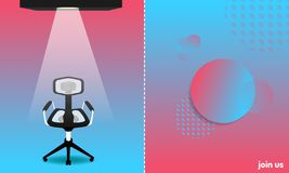 Abstract colorful style. we hiring and new jobs team members. a chair for candidate. join us. vector illustration eps10 stock illustration