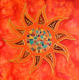 Abstract colorful sun painting