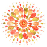 Abstract colorful sun watercolor illustration Stock Photography