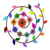 Abstract colorful swirl flower and leaf Royalty Free Stock Photos