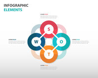 Abstract colorful swot analysis business Infographics elements, presentation template flat design vector illustration. For web design set Stock Photography