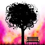 Abstract colorful tree with bench Stock Photography