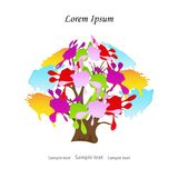 Abstract colorful tree branches with multicolored leaves,splash. Liquid paint.Vector invitation template,logo, greetings of the bright spots: red,yellow,blue stock illustration