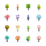 Abstract colorful tree icon set, vector eps10 Stock Image