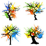 Abstract colorful trees with splashes of color Stock Photos