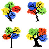 Abstract colorful trees with splashes of color Royalty Free Stock Image