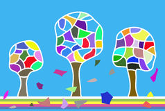 Abstract colorful trees Royalty Free Stock Image