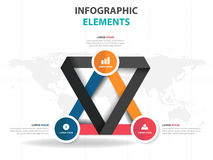 Abstract colorful triangle business Infographics elements, presentation template flat design vector illustration for web design Stock Image
