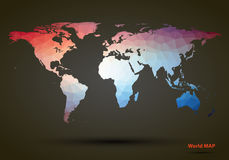 Abstract colorful triangle world map. Vector Royalty Free Stock Photos
