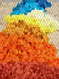 Abstract colorful triangles with black line pattern Stock Images