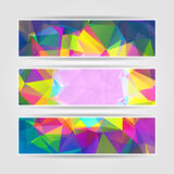 Abstract Colorful Triangular banners set Stock Photos