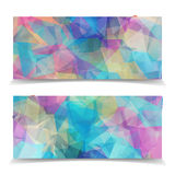 Abstract Colorful Triangular header set. Abstract Colorful Triangular Polygonal header set vector illustration