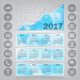 Abstract Colorful Triangular Polygonal 2016 year calendar. With business icons royalty free illustration