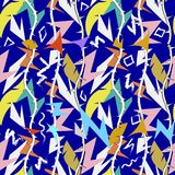 Abstract colorful tribal geometric zigzag vector seamless pattern. Intricate zig zag lines. Blue ornamental ethnic style royalty free illustration