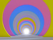 Abstract colorful tunnel interior with perspective effect. 3d illustration Royalty Free Stock Photo