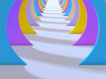 Abstract colorful tunnel interior with white floor. 3d. Illustration Royalty Free Stock Images