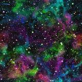 Abstract colorful universe.  Nebula night starry sky. Multicolor outer space.  Galactic texture background. Seamless illustration. Royalty Free Stock Image