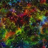 Abstract colorful universe.  Nebula night starry sky. Multicolor outer space.  Texture background. Seamless illustration. Abstract colorful universe Royalty Free Stock Image