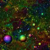 Abstract colorful universe.  Nebula night starry sky with rainbow colored planets.  Outer space.  Galactic texture background. Stock Images